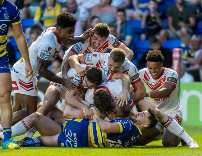 Saints celebrate at Warrington. Picture: Bernard Platt