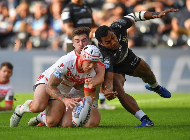 Theo Fages scores his Saints' second try the match at the KCOM Stadium.                 Picture: Dave Howarth/PA Wire.