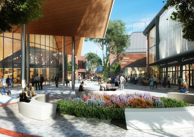 An artist's impression of how a planned transformation could change St Helens town centre