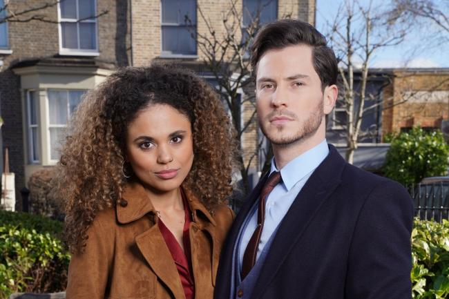 Gray Atkins (Toby-Alexander Smith) and his wife Chantelle (Jessica Plummer)