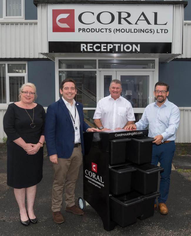 : Cllr Lynn Clarke, Cllr David Baines, Mick Wood CEO Coral Products (Mouldings) Ltd, and Steve Cranswick National Account Manager Coral Products (Mouldings) Ltd, with the new multi-box recycling system