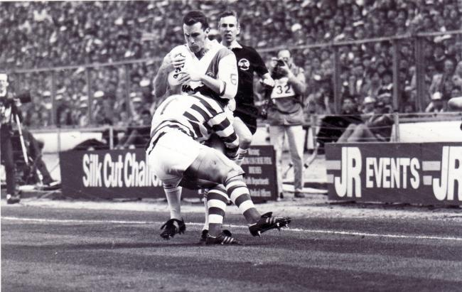 Kevin McCormack tackled in the 1987 final against Halifax