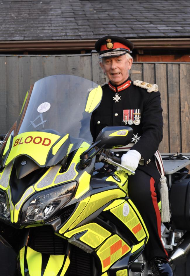 The Lord Lieutenant with one of the blood bikes
