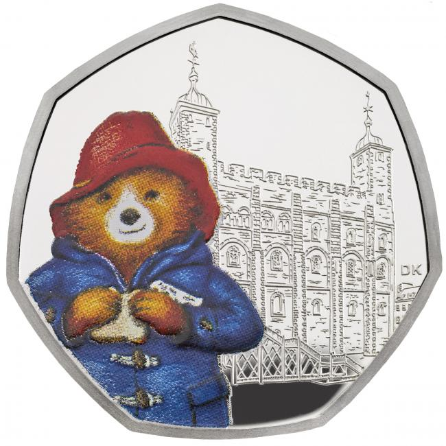 The new limited edition Silver Proof 50p coin featuring Paddington Bear. Credit: The Royal Mint/PA Wire.
