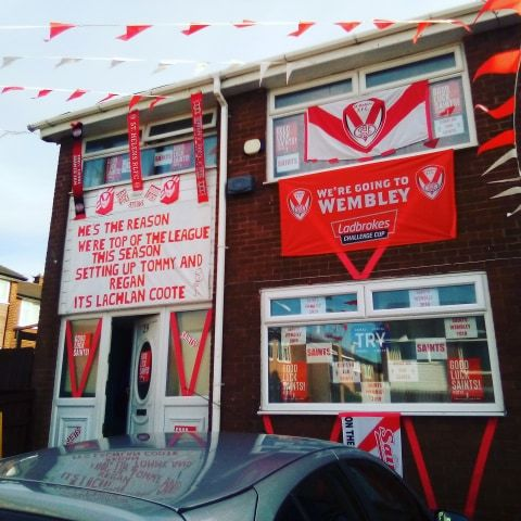 St Helens has become a sea of red and white for Wembley