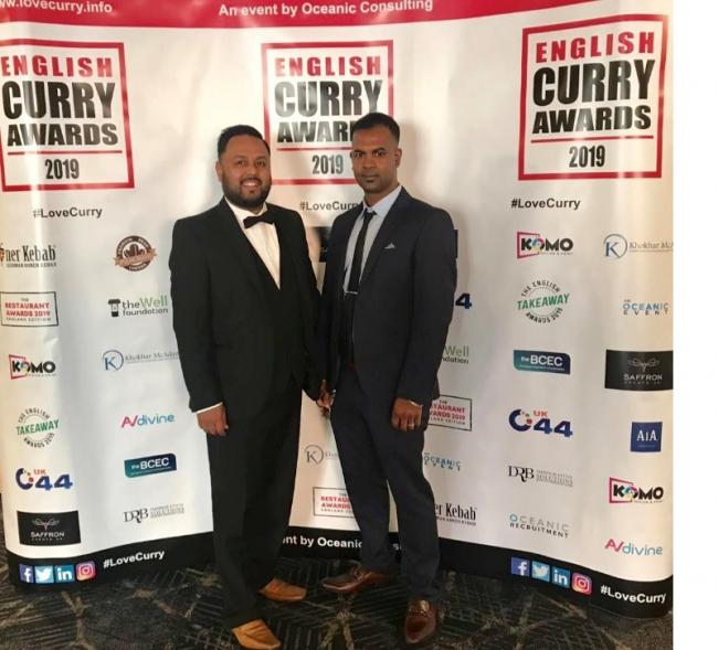 Holdi Rainford manager Abdul Kalam and chef Mijan Kamaly at the English Curry Awards