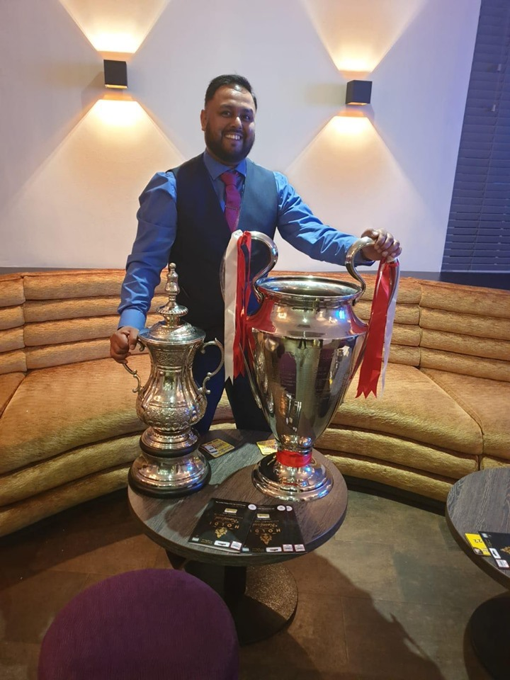 European Cup on display at Indian restaurant Holdi, Rainford