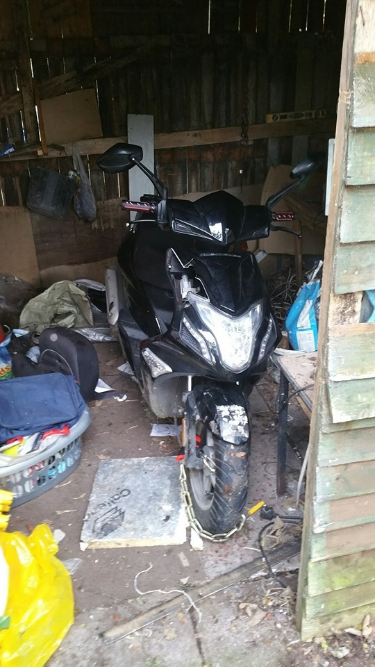 Stolen scooter found in shed on Shaw Lane, Prescot