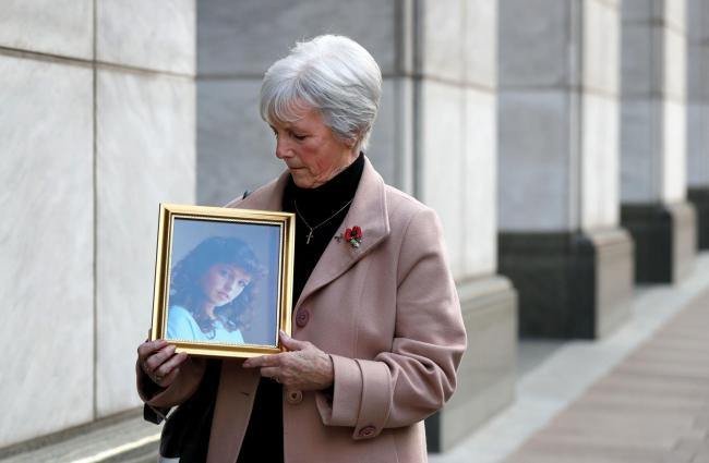 Marie McCourt, mother of Helen McCourt, after she gave evidence at a Parole board hearing on the release of Ian Simms who murdered her daughter in 1988. PA Photo. Picture date: Thursday November 7, 2019. See PA story PRISONS Simms. Photo credit should rea