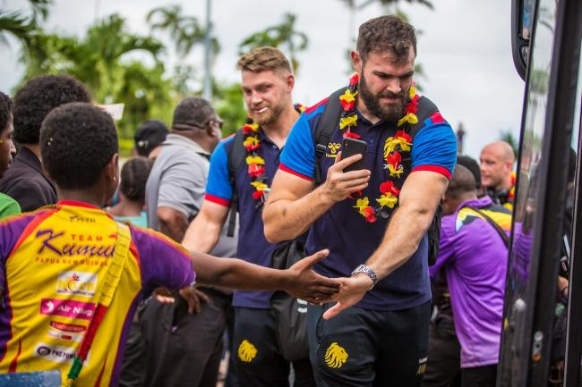 Alex Walmsley arriving in Papua New Guinea. Picture by SpidertekPNG/SWpix.com