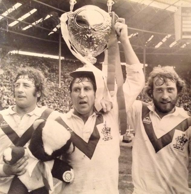 Tony Karalius, centre, with fellow Widnesians George Nicholls and Peter Glynn after Saints 1976 Wembley win
