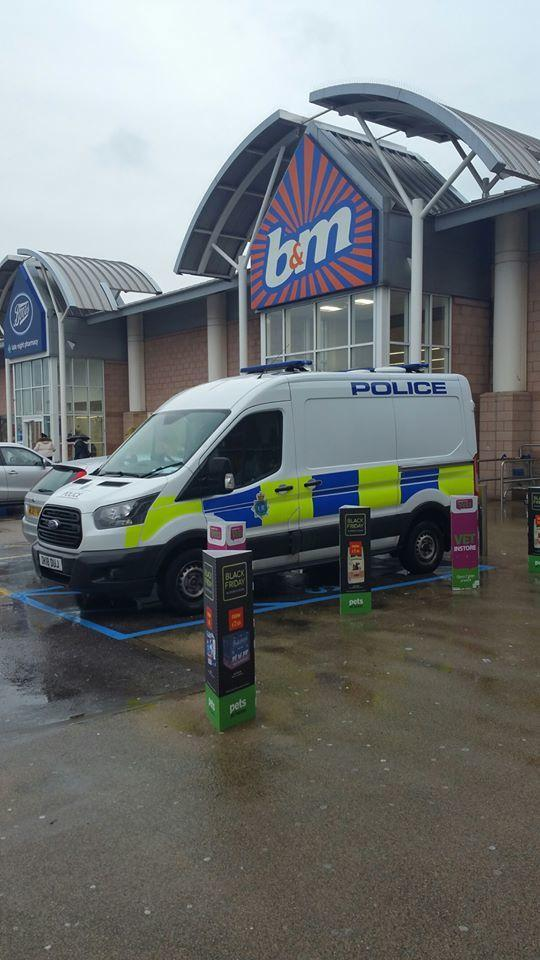 Police at the Cables Retail Park this week Pic: Knowsley Police