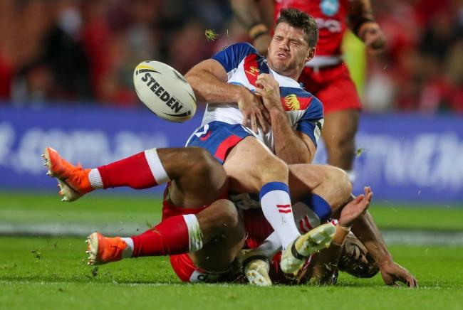 Lachlan Coote playing for Great Britain against Tonga. Pic: photsport.nz/SWPix.com