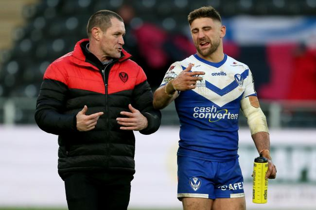 Saints Richard Sellers/PA Wire. .head coach Kristian Woolf speaks with Tommy Makinson. Pic: PA Wire/Richard Sellers