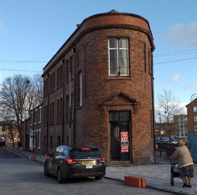 The Flat iron Building in Prescot