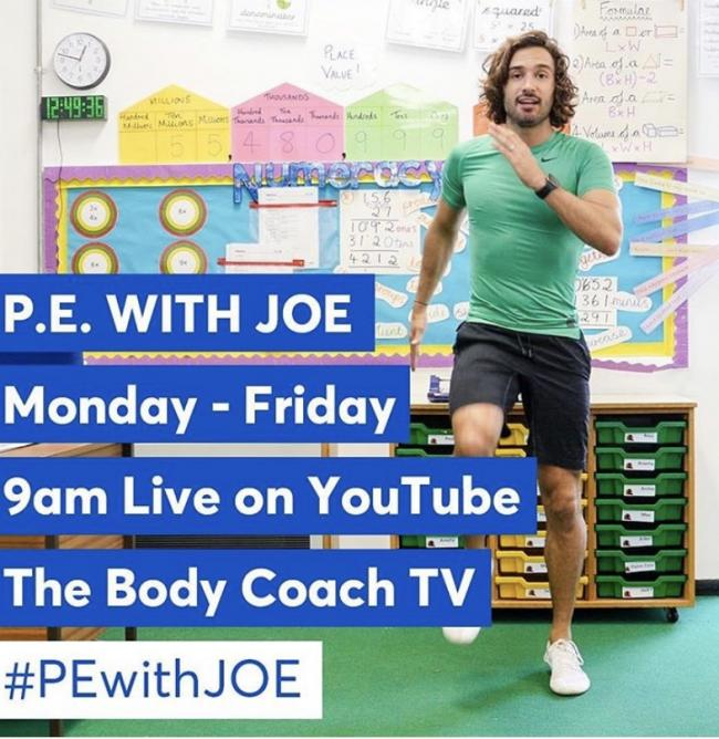 Joe Wicks promoting the PE classes on social media