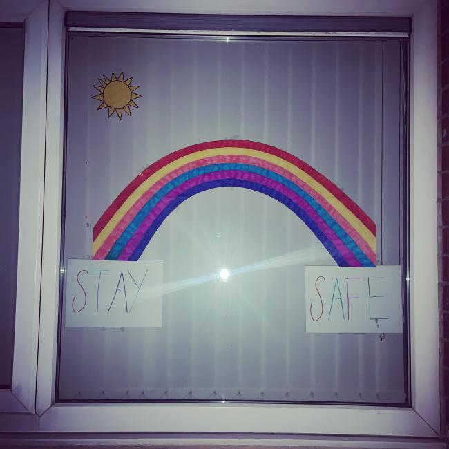 Stay safe rainbow done by  Keyah & Jacob Woods  Garswood area