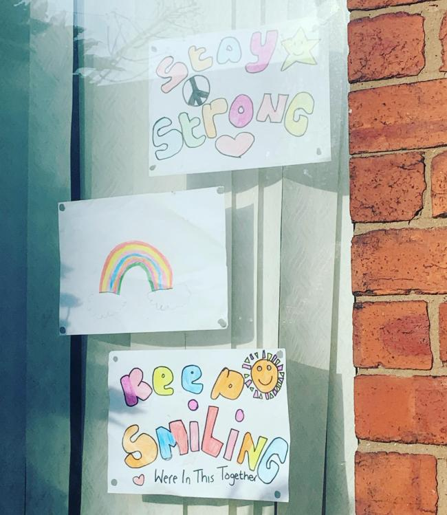 This rainbow and message is by Isla  aged 10 with a little help of her twin brother and sister mila and Abel aged 2 with colouring in Dentons green area