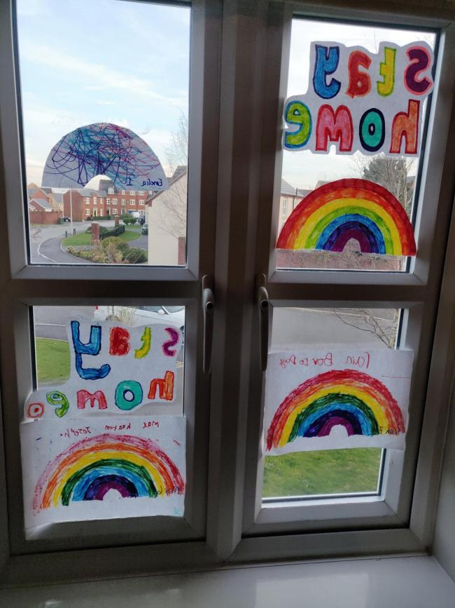 Noah, Max and Emelia have created their rainbows and stay home signs to put in our window, to share some positivity.