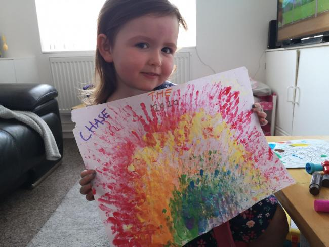 Felicity age 3 Felicity painted her beautiful rainbow to spread cheer and love to all. She is really missing her grandparents and nursery friends , so she hopes they will be able to see her creation and be reminded of happy times.