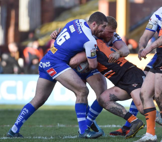 Kyle Amor makes a tackle at Castleford, last time out. Pic: Bernard Platt
