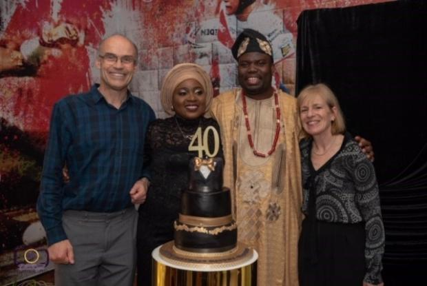 St Helens Star: The Schneider family recently visited Bisi and her husband, Mayowa, to celebrate his 40th birthday