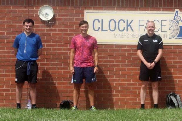 Clock Face players and officials turn out for referee Ellis McCarthy, centre, during his 162 miles of running between National Conference League clubs