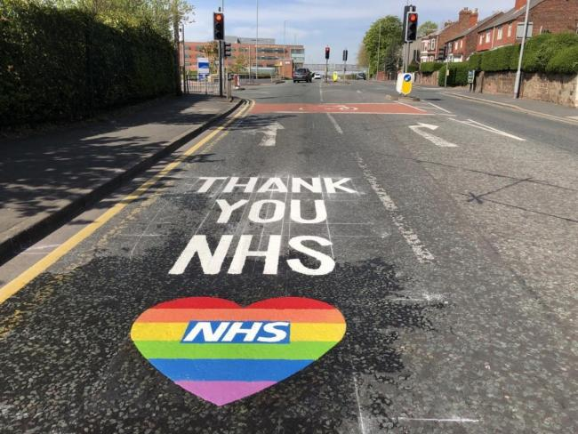 Thank You signs for NHS workers were painted on roads in St Helens earlier in the pandemic