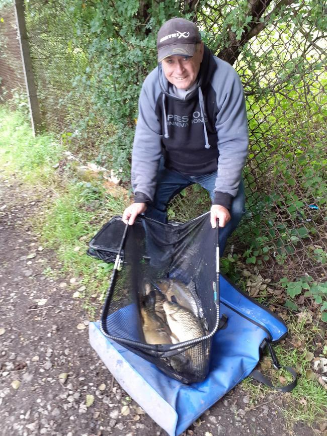 Chris Grehan with his catch of carp, bream and silver fish from peg 20 on the Yewtree Reservoir today 16-7-20