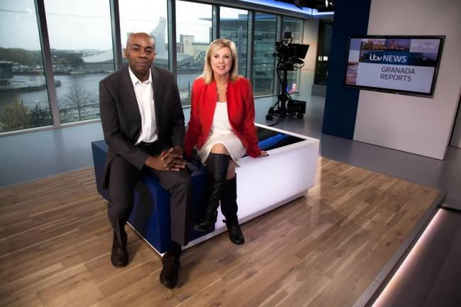 Tony Morris with Granada Reports co-presenter Lucy Meacock. Picture by ITV News.