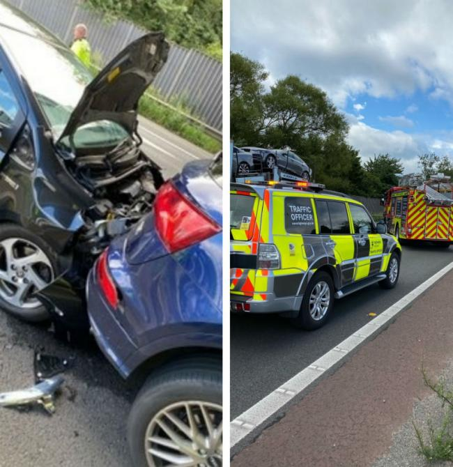 The two vehicles involved in crash on M56 Westbound and emergency services at the scene. Pictures: Frodsham Fire Station