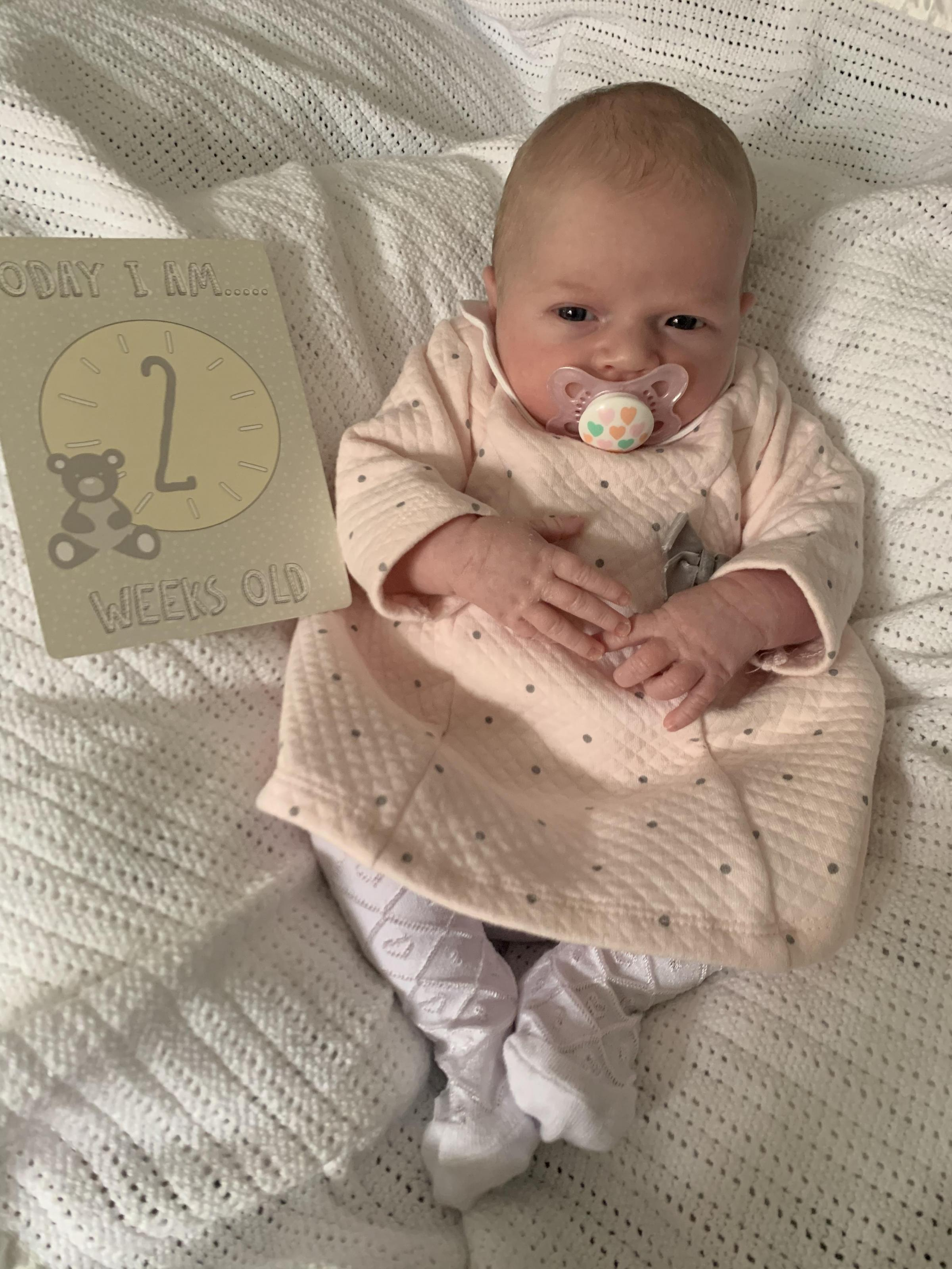 St Helens Star: Ivy May Hughes at 2 weeks old now weighing 7lb 4oz