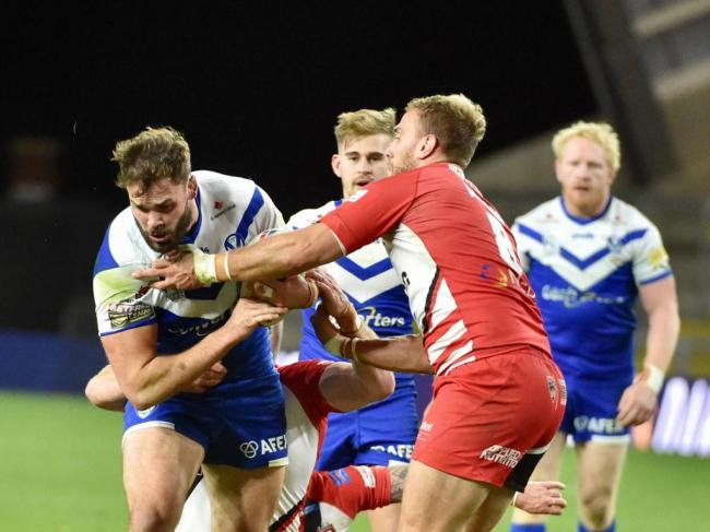 Alex Walmsley looking for a way through against Salford tonight. Picture: Bernard Platt
