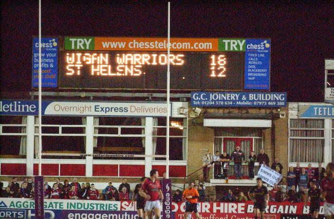 Scoreboard at The Willows, the former home of Salford Red Devils. Picture: Mike Boden