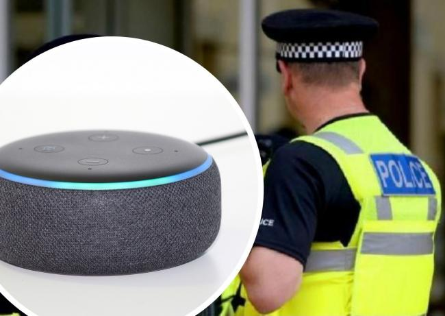 A stock image of an Alexa (inset) which was among the items stolen