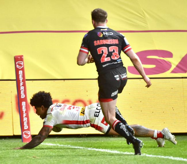 Fiji skipper Kevin Naiqama scoring for Saints. Picture: Bernard Platt