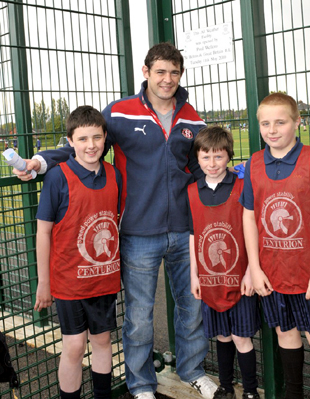 Paul Wellens with Year 8 students Michael Hornshaw, Jay Barton and Mark Daly