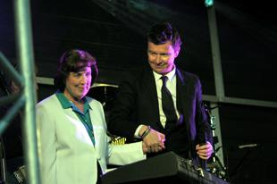 Rick Astley is joined on stage by his mum.
