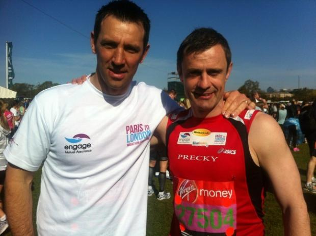 Paul Sculthorpe, pictured alongside Steve Prescott during their Paris to London challenge last year.