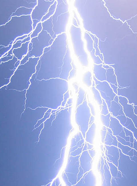 The electrical storms – accompanied by torrential rain – saw fork lightning (similar to that in this general image above) crash down over parts of the town and blasts of thunder