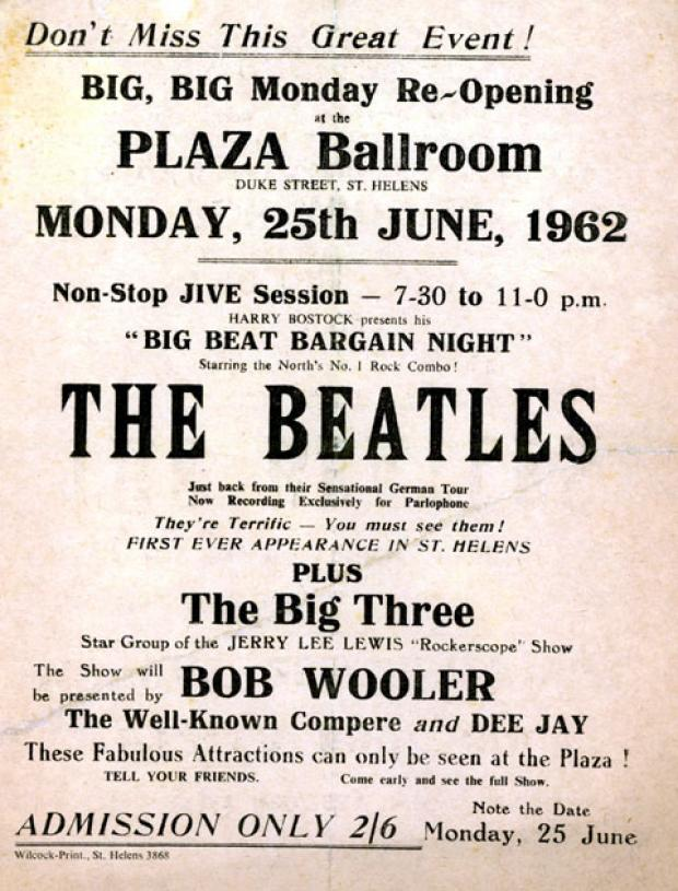 The Beatles handbill for their concert in St Helens