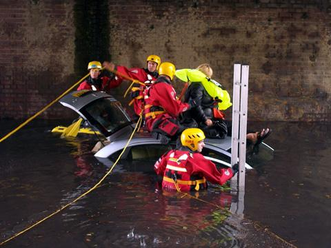 Rescue: The woman had to be rescued by firefighters
