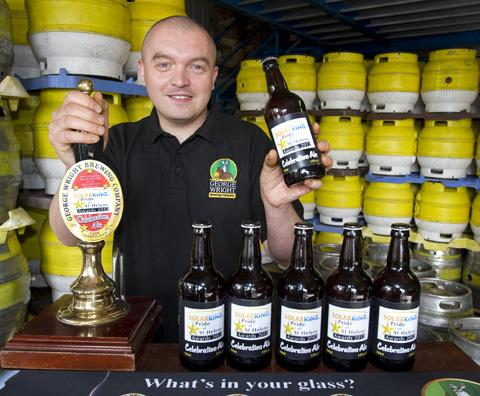 ROLL out the barrel... Gary Wright of the brewery is delighted to be serving up a special ale for the Pride awards. Photo: BERNARD PLATT