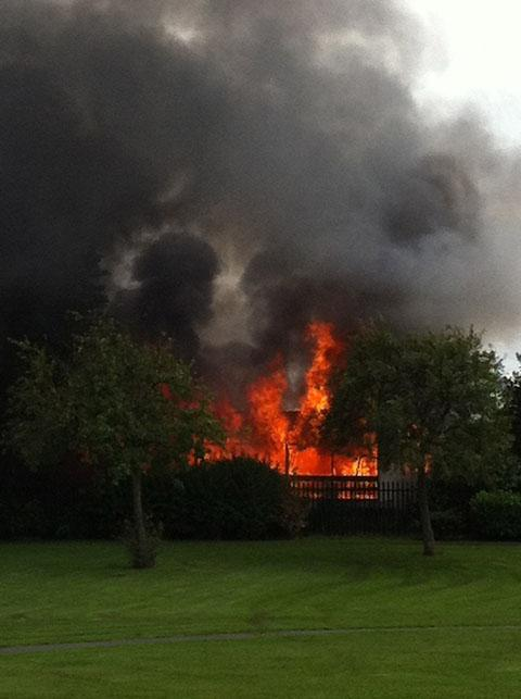 Eye witness Elaine Gauld captured the scene of the fire in this picture at the Saracen's Head.