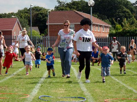 Parents and tots go on the run at Little Treasures Nursery.