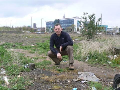 Andy Donnelly, pictured on the former St Thomas' Square site, has mapped out a green vision for the town centre