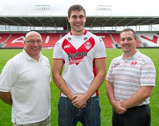 Alex Walmsley pictured with John Kear and Mike Rush.