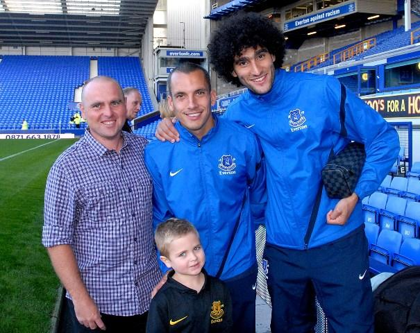 Billy on his is VIP trip to Goodison Park with Marouane Fellaini and Leon Osman. (Picture courtesy Everton FC)