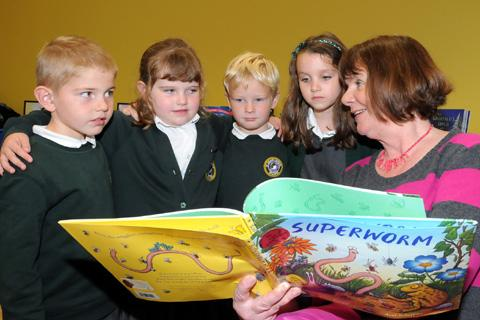 GRUFFALO author Julia Donaldson had her young audeince spellbound during her visit to Central Library. Photos DAVE GILLESPIE.
