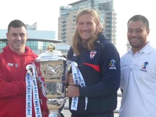 Rhys Williams, Eorl Crabtree and Tony Puletua with the World Cup in Manchester today